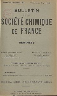 Bulletin de la Société Chimique de France. Mémoires, 5 série, T. 8, n. 11-12