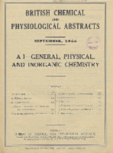 British Chemical and Physiological Abstracts. A. Pure Chemistry and Physiology. I. General, Physical, and Inorganic Chemistry, September