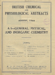 British Chemical and Physiological Abstracts. A. Pure Chemistry and Physiology. I. General, Physical, and Inorganic Chemistry, August