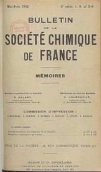 Bulletin de la Société Chimique de France. Mémoires, 5 série, T. 9, n. 5-6