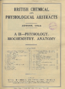 British Chemical and Physiological Abstracts. A. Pure Chemistry and Physiology. III. Physiology and Biochemistry (including Anatomy), August