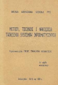 Metody, techniki i narzędzia tworzenia systemów informatycznych