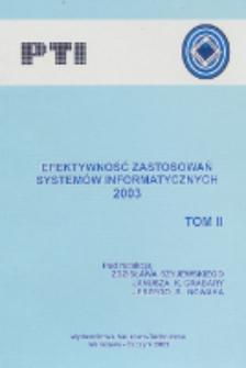Efektywność zastosowań systemów informatycznych 2003. T. 2