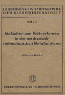 Meßmittel und Prüfverfahren in der mechanisch-technologischen Metallprüfung