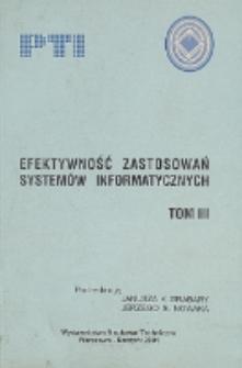 Efektywność zastosowań systemów informatycznych. T. 3