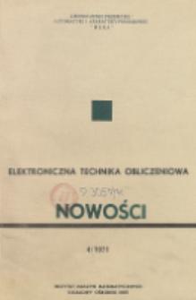 Elektroniczna Technika Obliczeniowa. Nowości, R. 10, Nr 4