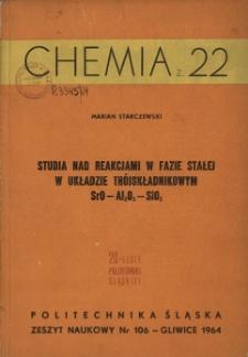 Studia nad reakcjami w fazie stałej w układzie trójskładnikowym SrO-Al2O3-SiO2