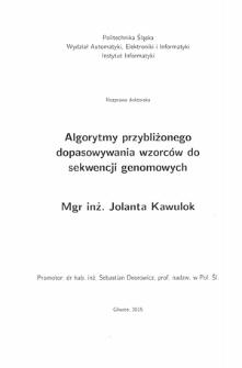 Algorytmy przybliżonego dopasowywania wzorców do sekwencji genomowych