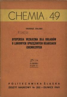Dyspersja wzdłużna dla układów o liniowych sprzężonych reakcjach chemicznych
