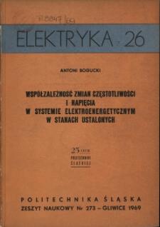 Współzależność zmian częstotliwości i napięcia w systemie elektroenergetycznym w stanach ustalonych