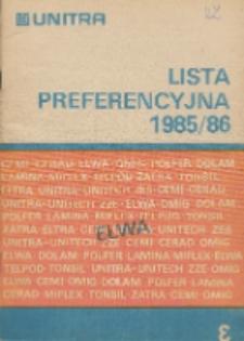Lista preferencyjna 1985/86 : Kondensatory elektrolityczne