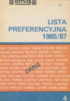 Lista preferencyjna 1985/87 : Generatory kwarcowe, filtry kwarcowe radiokomunikacyjne teletechniczne, rezonatory kwarcowe