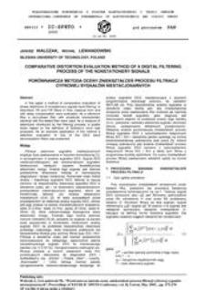 Porównawcza metoda oceny zniekształceń procesu filtracji cyfrowej sygnałów niestacjonarnych