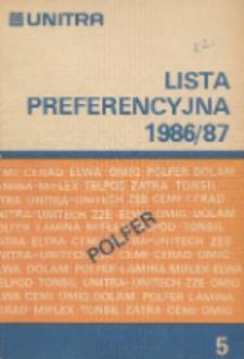 Lista preferencyjna 1986/87 : Wyroby ferrytowe i podzespoły indukcyjne