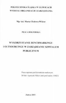 Wykorzystanie benchmarkingu i outsourcingu w zarządzaniu szpitalem publicznym
