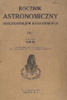 Rocznik Astronomiczny Obserwatorjum Krakowskiego na rok 1924. Tom 3