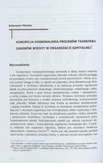 Koncepcja doskonalenia procesów transferu zasobów wiedzy w organizacji szpitalnej