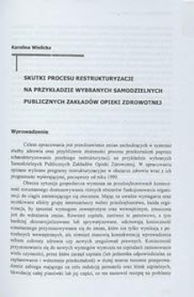 Skutki procesu restrukturyzacji na przykładzie wybranych samodzielnych publicznych zakładów opieki zdrowotnej