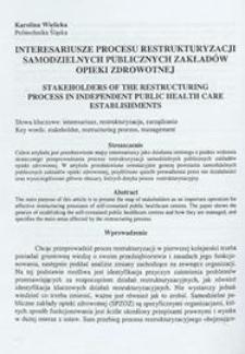 Interesariusze procesu restrukturyzacji Samodzielnych Publicznych Zakładów Opieki Zdrowotnej