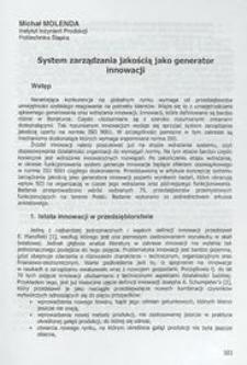 System zarządzania jakością jako generator innowacji