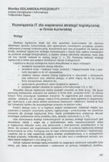 Rozwiązania IT dla wspierania strategii logistycznej w firmie kurierskiej