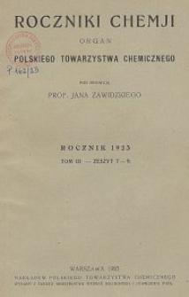 Roczniki Chemji : organ Polskiego Towarzystwa Chemicznego, T. 3, Z. 7-9