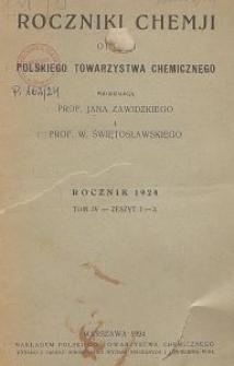 Roczniki Chemji : organ Polskiego Towarzystwa Chemicznego, T. 4, Z. 1-3