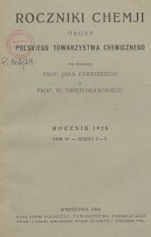 Roczniki Chemji : organ Polskiego Towarzystwa Chemicznego, T. 4, Z. 7-9