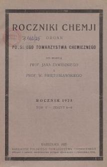 Roczniki Chemji : organ Polskiego Towarzystwa Chemicznego, T. 5, Z. 8-9