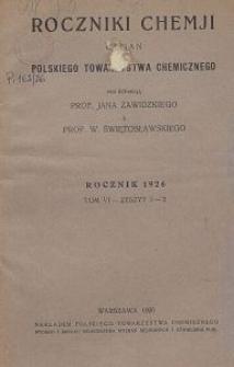 Roczniki Chemji : organ Polskiego Towarzystwa Chemicznego, T. 6, Z. 1-3