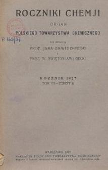 Roczniki Chemji : organ Polskiego Towarzystwa Chemicznego, T. 7, Z. 8