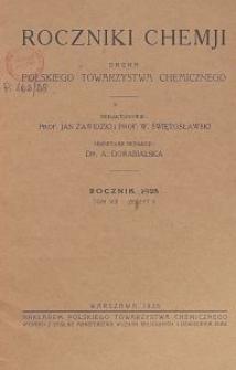 Roczniki Chemji : organ Polskiego Towarzystwa Chemicznego, T. 8, Z. 5