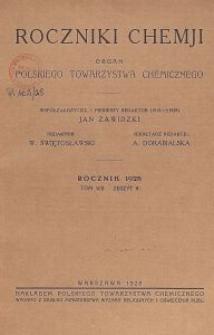 Roczniki Chemji : organ Polskiego Towarzystwa Chemicznego, T. 8, Z. 8