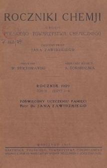 Roczniki Chemji : organ Polskiego Towarzystwa Chemicznego, T. 9, Z. 3-4