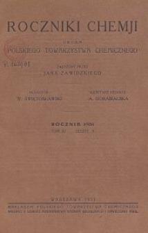Roczniki Chemji : organ Polskiego Towarzystwa Chemicznego, T. 11, Z. 5