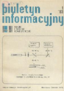 Biuletyn Informacyjny. Nauki i Techniki Komputerowe, R. 21, Nr 1