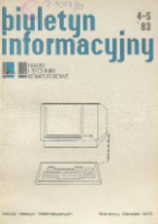 Biuletyn Informacyjny. Nauki i Techniki Komputerowe, R. 21, Nr 4-5