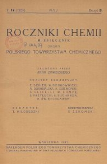 Roczniki Chemii : organ Polskiego Towarzystwa Chemicznego, T. 17, Z. 5