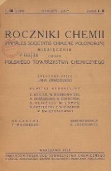 Roczniki Chemii : organ Polskiego Towarzystwa Chemicznego, T. 18, Z. 1-2