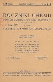 Roczniki Chemii : organ Polskiego Towarzystwa Chemicznego, T. 18, Z. 3-4