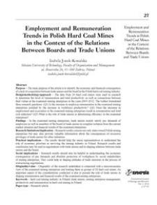 Employment and remuneration trends in Polish hard coal mines in the context of the relations between boards and trade unions