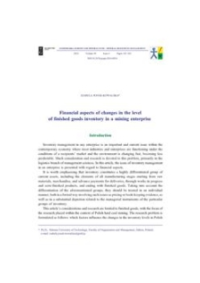 Financial aspects of changes n the level of finished goods inventory in a mining enterprise