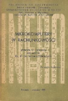 Mikrokomputery w rachunkowości : materiały na konferencję, Szczecin, wrzesień 1985r.