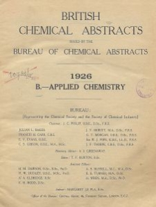 British Chemical Abstracts. B. Applied Chemistry, August 20