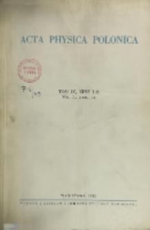 Acta Physica Polonica, Vol. 4, Z. 1-2