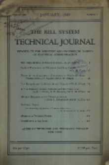 The Bell System Technical Journal : devoted to the Scientific and Engineering aspects of Electrical Communication, Vol. 19, No. 1