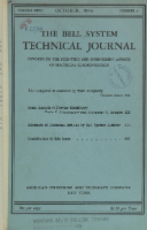 The Bell System Technical Journal : devoted to the Scientific and Engineering aspects of Electrical Communication, Vol. 23, No. 4