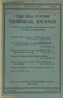 The Bell System Technical Journal : devoted to the Scientific and Engineering aspects of Electrical Communication, Vol. 23, No. 1