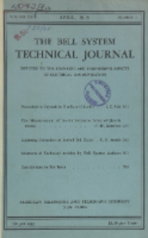 The Bell System Technical Journal : devoted to the Scientific and Engineering aspects of Electrical Communication, Vol. 24, No. 2