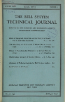 The Bell System Technical Journal : devoted to the Scientific and Engineering aspects of Electrical Communication, Vol. 23, No. 3